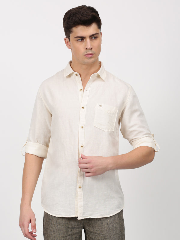 Cream Plain Long Sleeve Casual Shirt