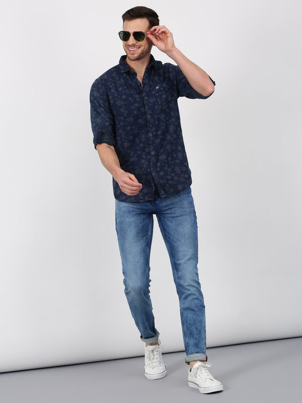Blue Denim Checked  Casual Shirt