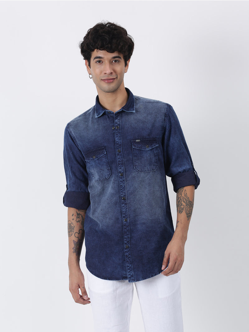 Navy Denim Checked  Casual Shirt