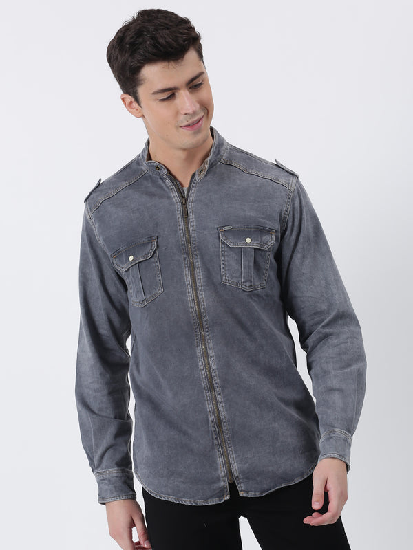 Grey Denim Plain  Casual Shirt