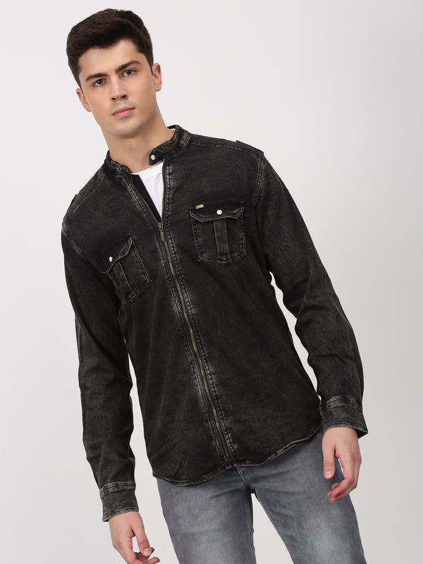 Black Plain Long Sleeve Casual Shirt