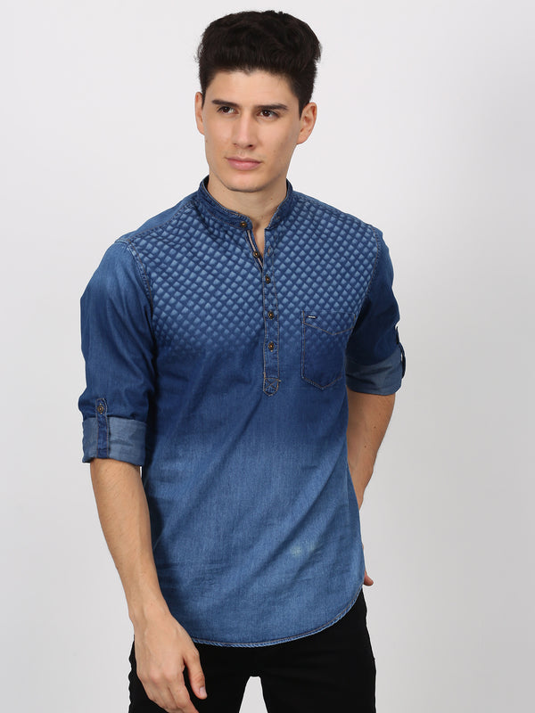 Navy Printed Long Sleeve Casual Kurta