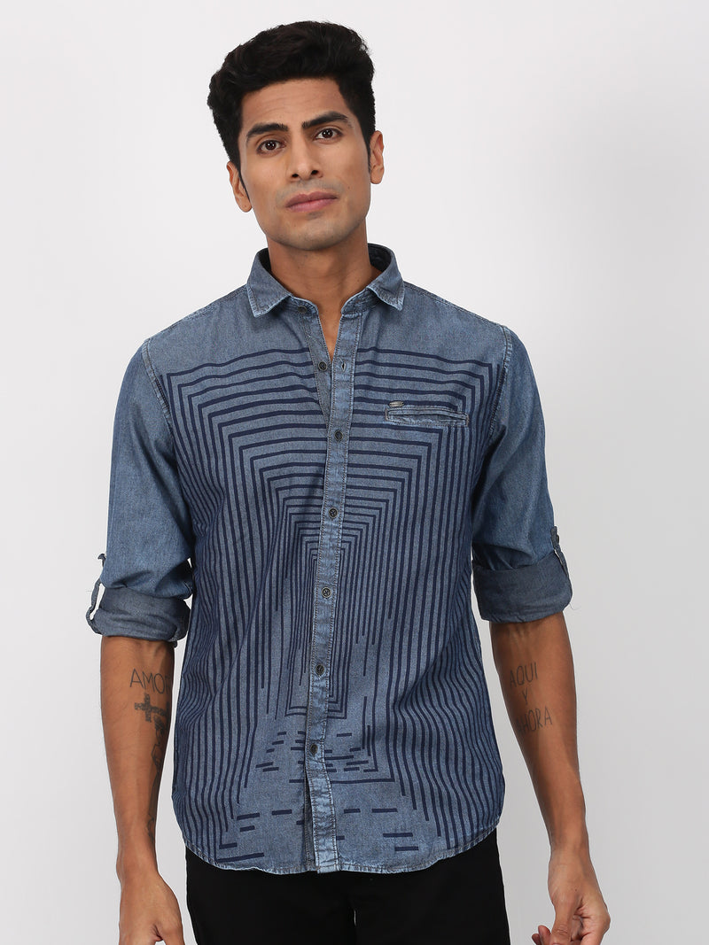 Navy Denim Printed  Casual Shirt