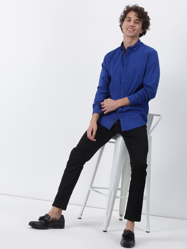 Royal Blue Plain Long Sleeve Casual Shirt