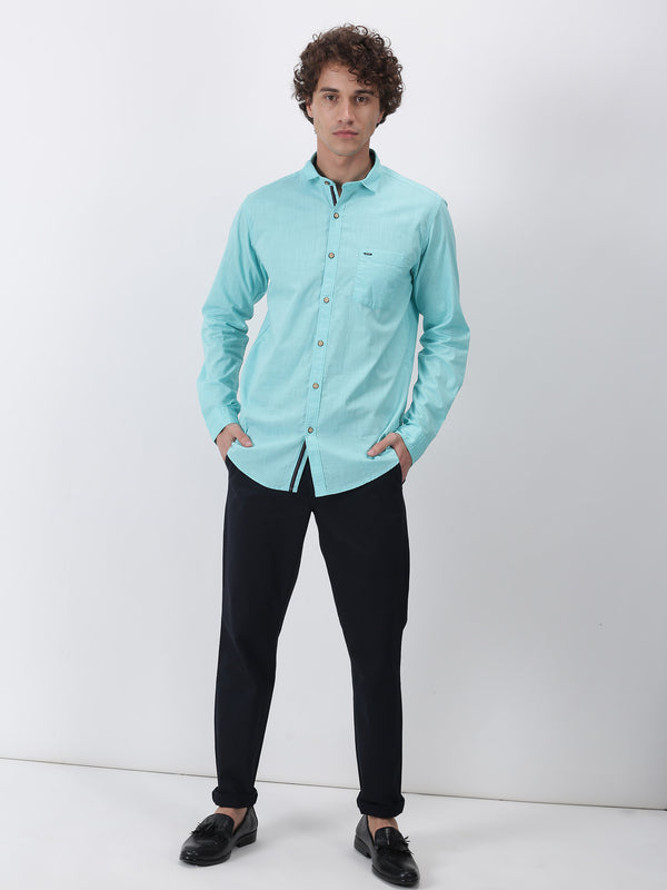 Aqua Green Plain Long Sleeve Casual Shirt