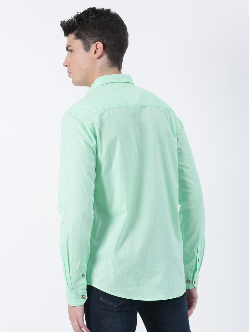Parrot Green Plain Long Sleeve Casual Shirt