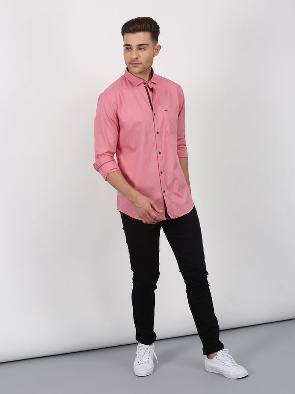 Dark Pink Plain Long Sleeve Casual Shirt
