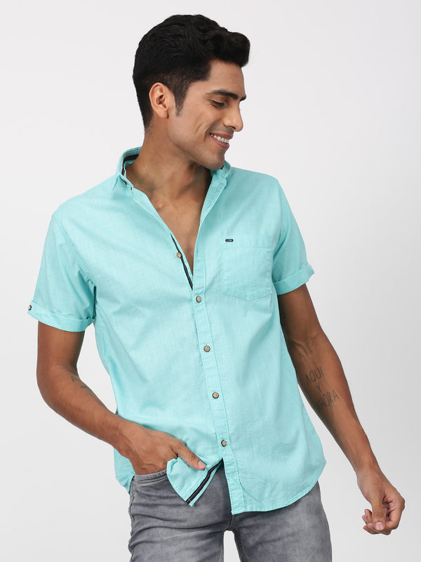 Aqua Green Plain Short Sleeve Casual Shirt