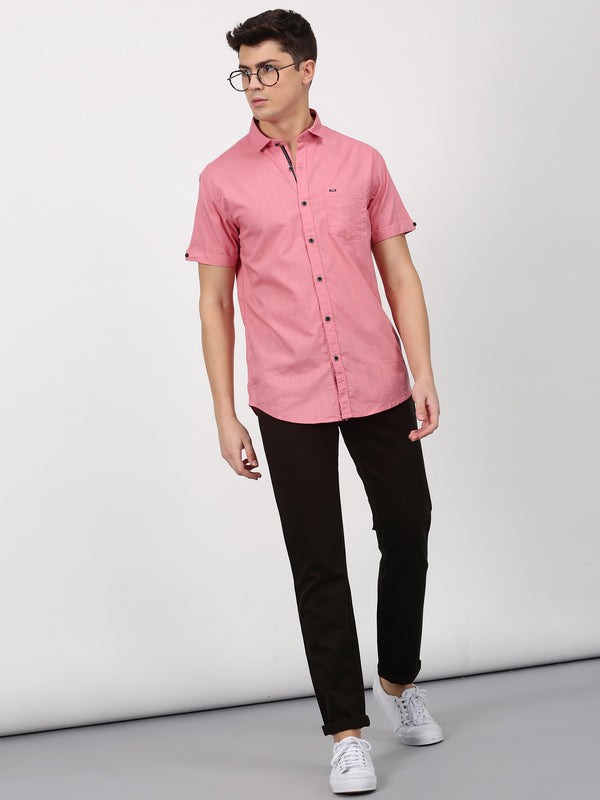Dark Pink Plain Short Sleeve Casual Shirt