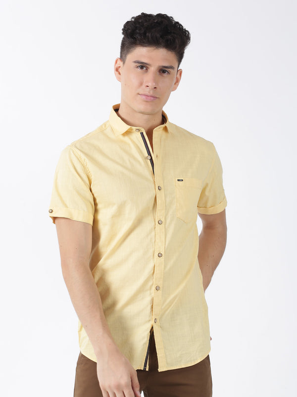 Lemon Plain Short Sleeve Casual Shirt