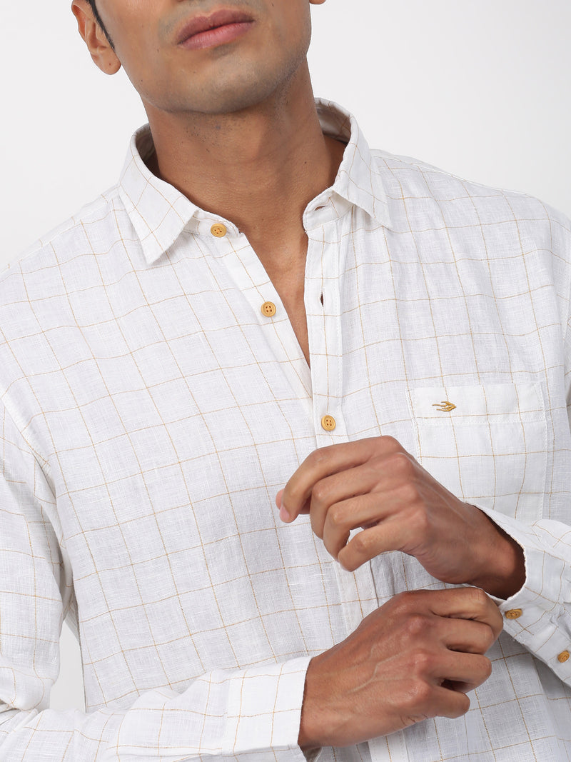 Cream Checked Long Sleeve Casual Shirt