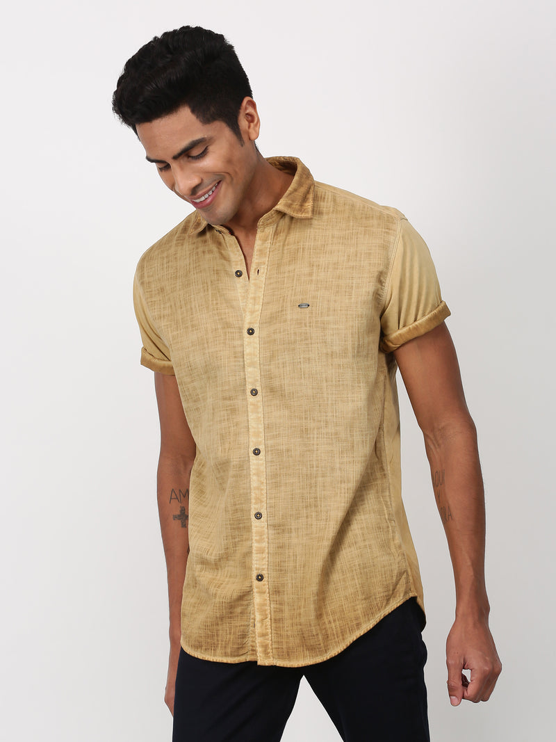 Khaki Plain Short Sleeve Casual Shirt