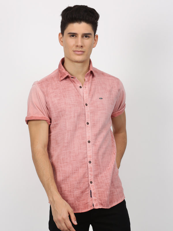 Rust Plain Short Sleeve Casual Shirt