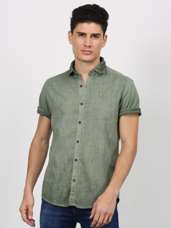 Olive Plain Short Sleeve Casual Shirt