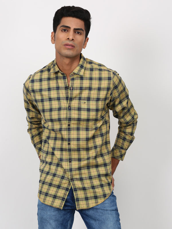 Khaki Checked Long Sleeve Casual Shirt
