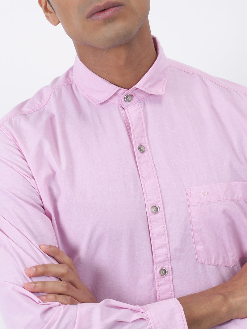 Pink Plain Long Sleeve Casual Shirt