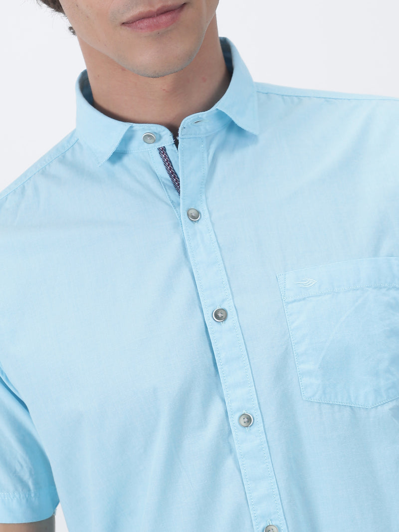 Sky Blue Plain Short Sleeve Casual Shirt
