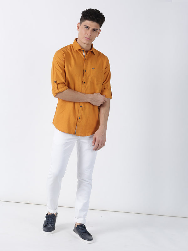 Yellow Plain Long Sleeve Casual Shirt