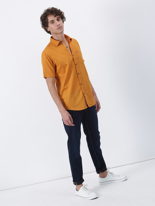 Yellow Plain Short Sleeve Casual Shirt