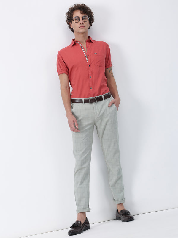 Dk Red Plain Short Sleeve Casual Shirt