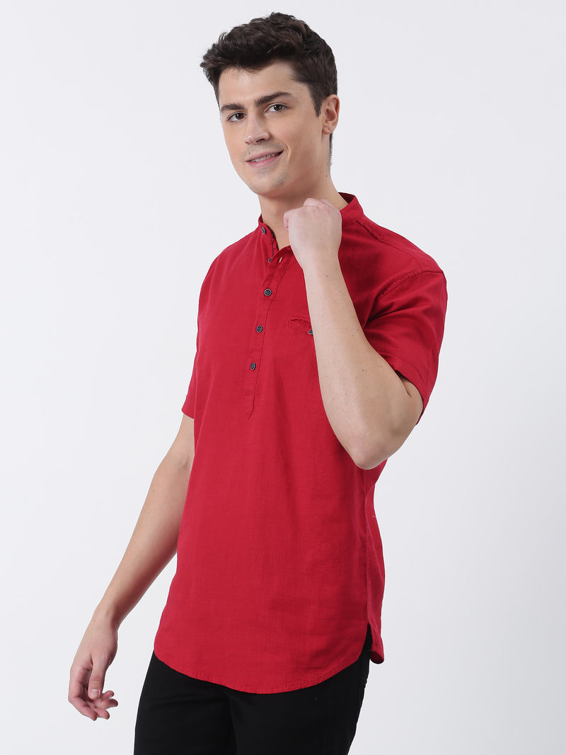 Red Plain Short Sleeve Casual Kurta
