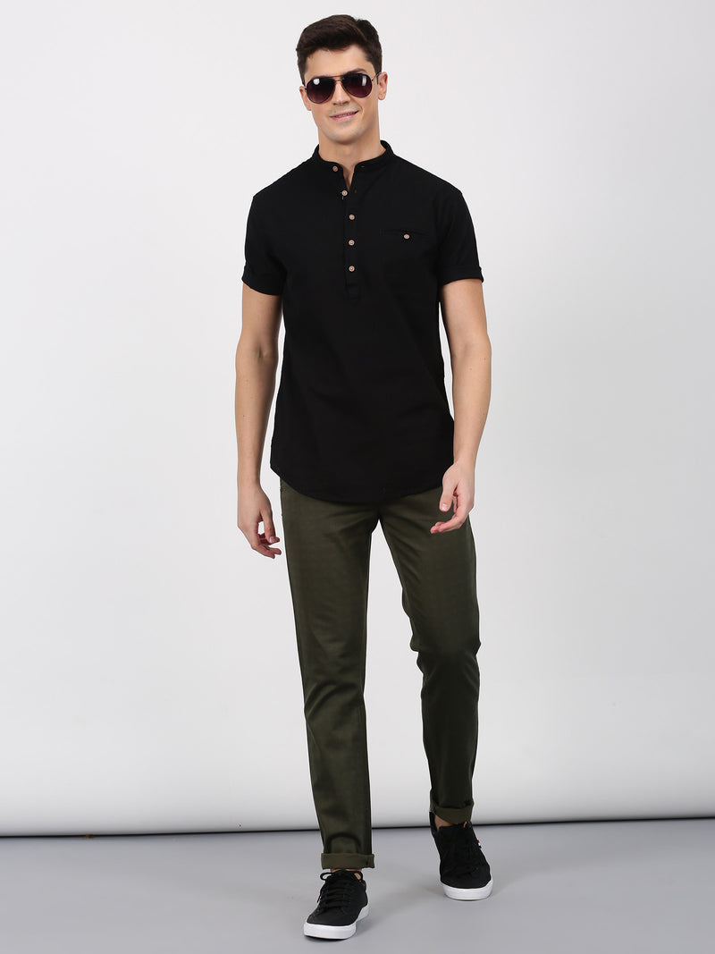 Black Plain Short Sleeve Casual Shirt
