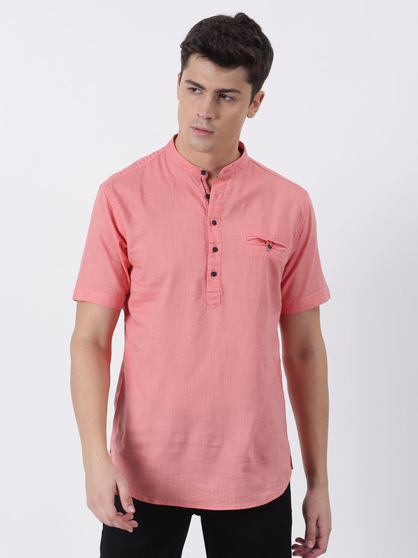 Coral Plain Short Sleeve Casual Kurta