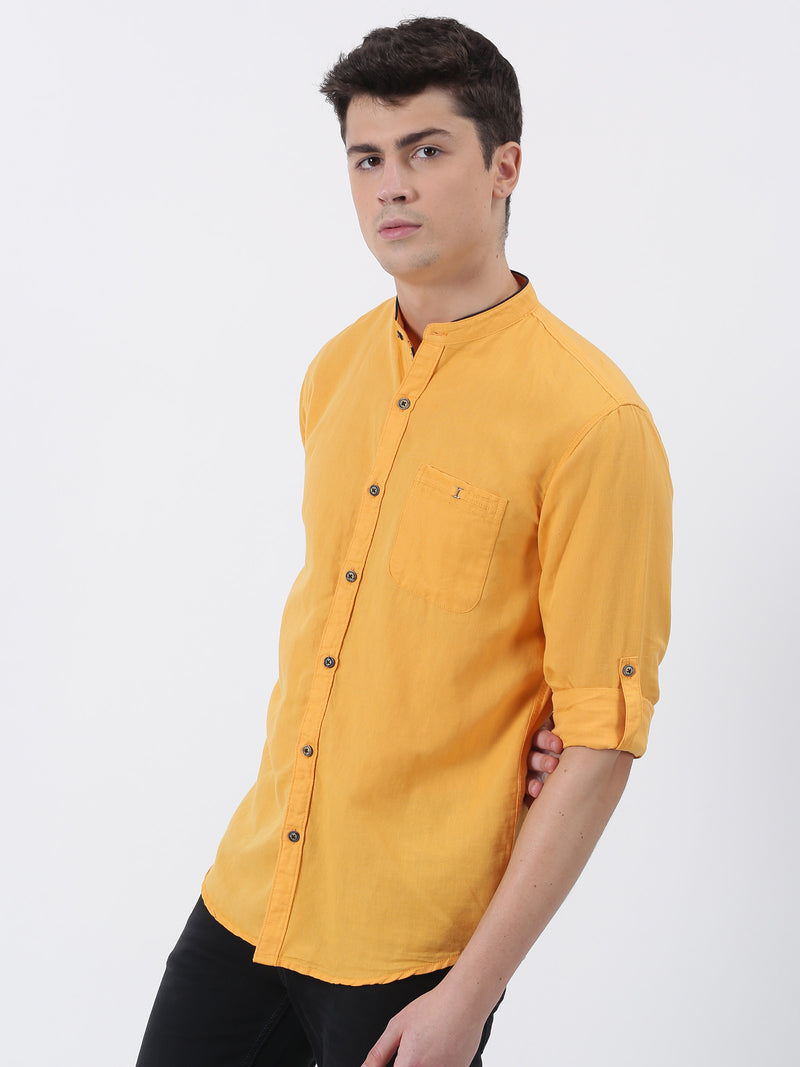 Light Orange Plain Long Sleeve Casual Shirt