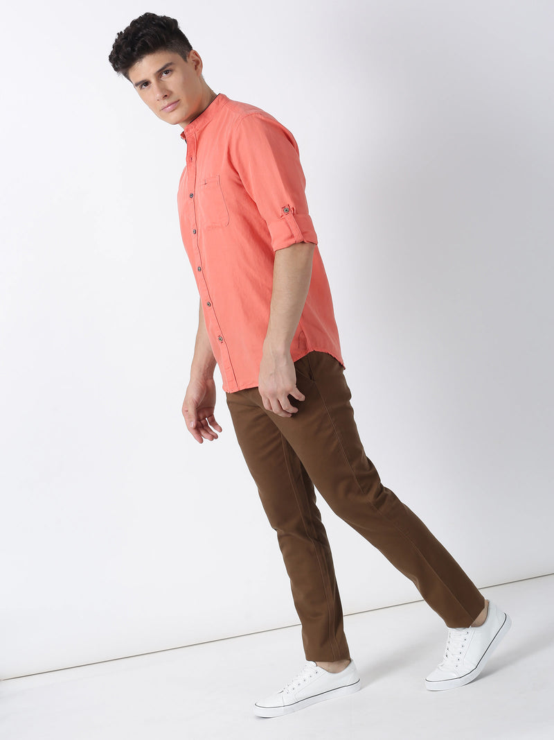Coral Plain Long Sleeve Casual Shirt