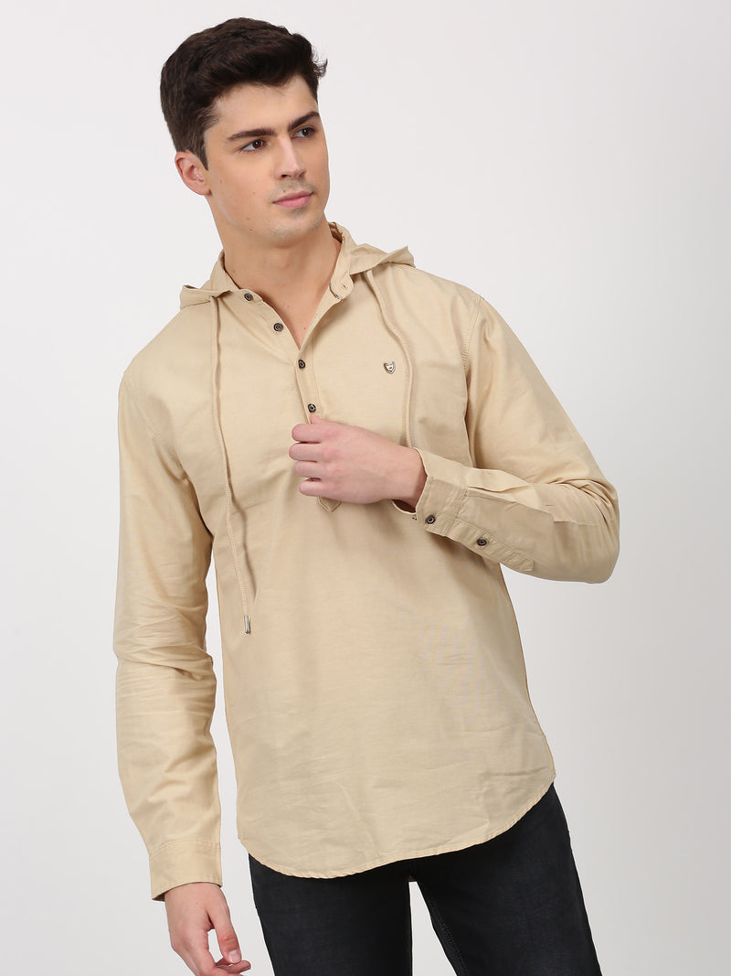Khaki Plain Long Sleeve Casual kurta