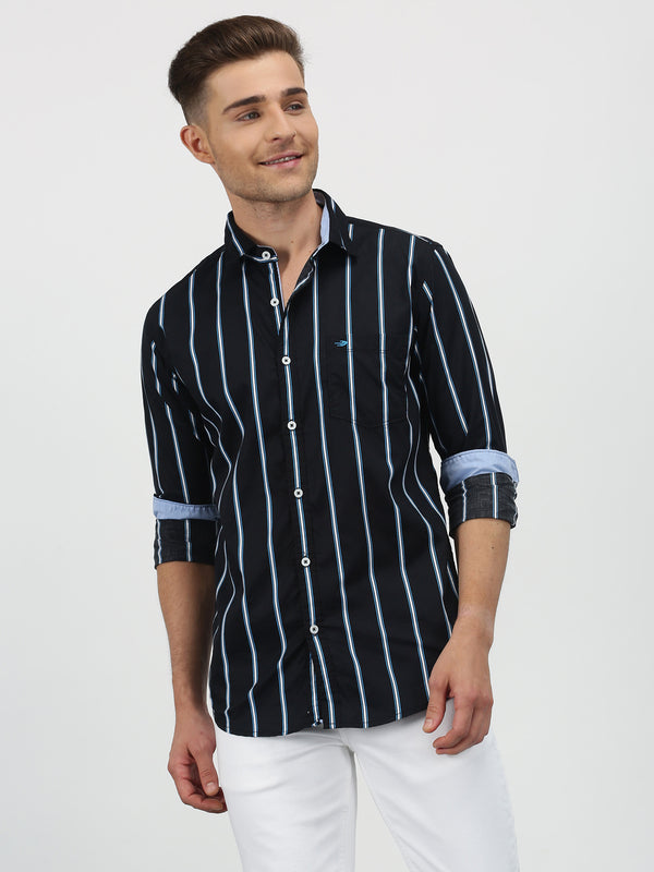 Black Striped Long Sleeve Casual Shirt