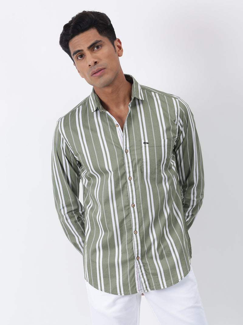 Olive Striped Long Sleeve Casual Shirt
