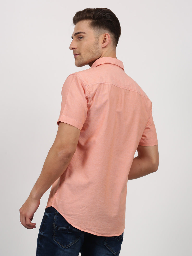 Orange Plain Short Sleeve Casual Shirt