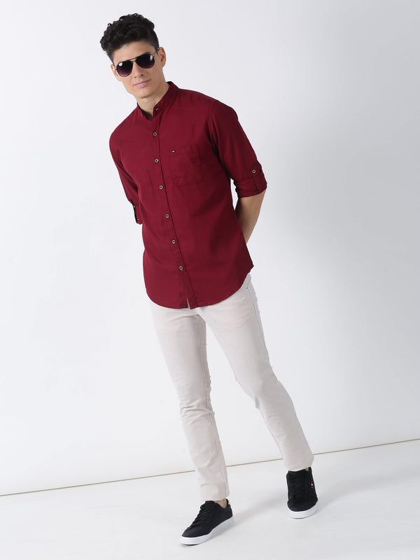 Maroon Plain Long Sleeve Casual Shirt