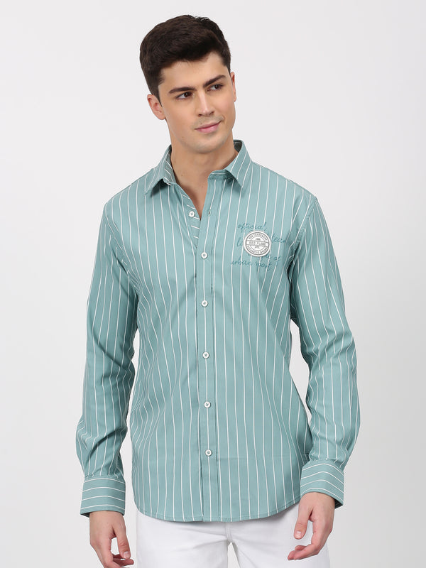 Green Striped Long Sleeve Street Wear Shirt