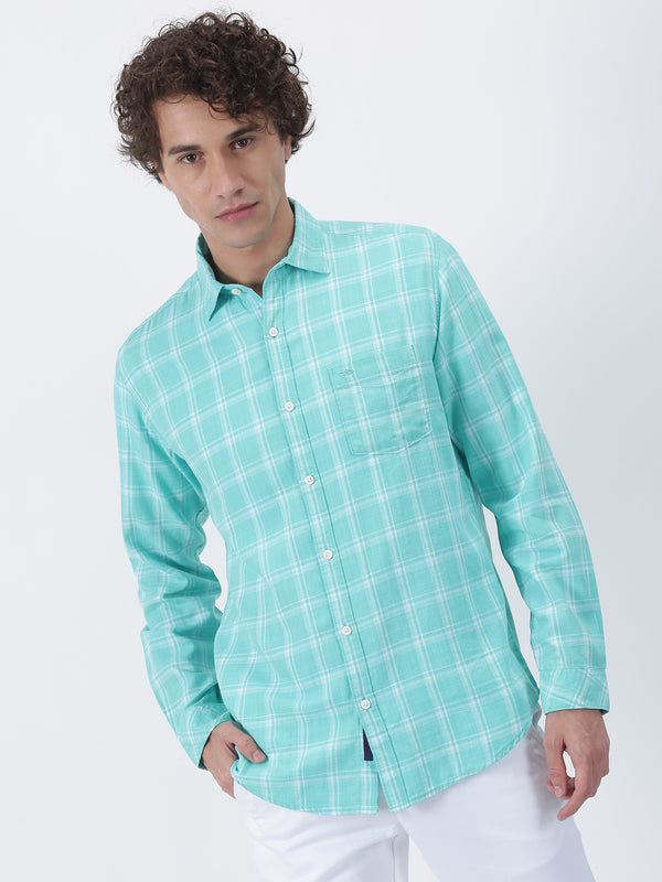Aqua Blue Checked Long Sleeve Casual Shirt