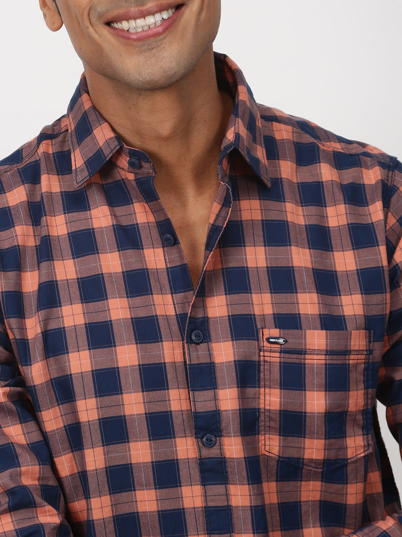 Ornage Checked Long Sleeve Casual Shirt