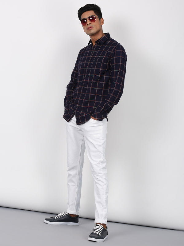 Navy Checked Long Sleeve Casual Shirt