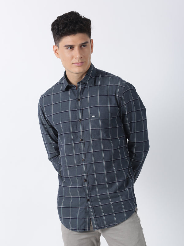 Olive Checked Long Sleeve Casual Shirt