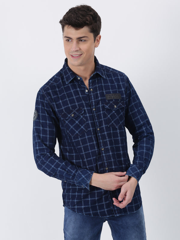 Navy Denim Checked  Street Wear Shirt