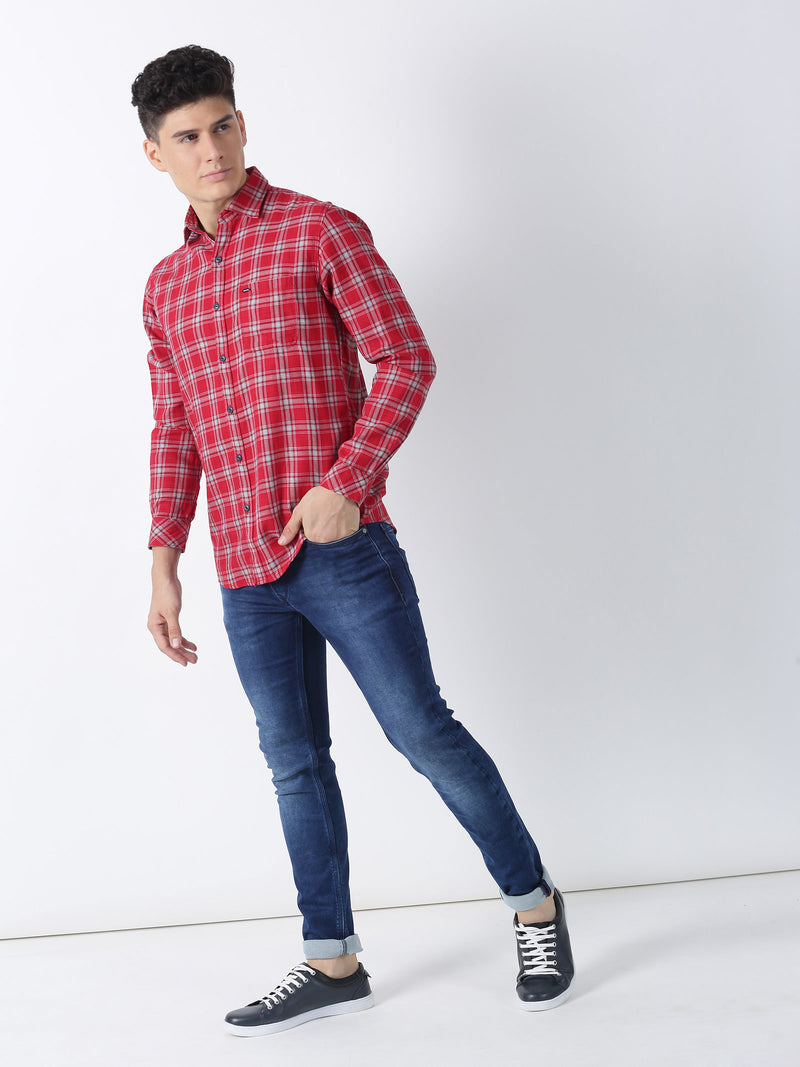 Red Checked Long Sleeve Casual Shirt