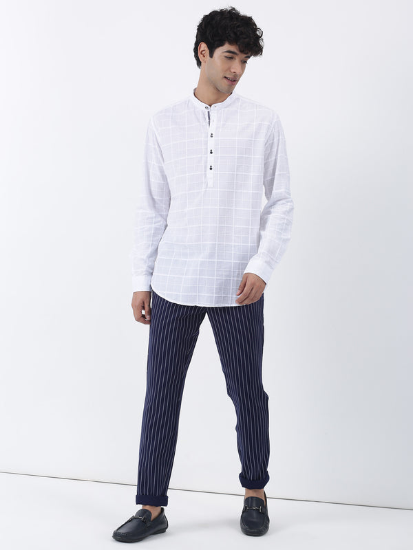 White Checked Long Sleeve Casual Kurta