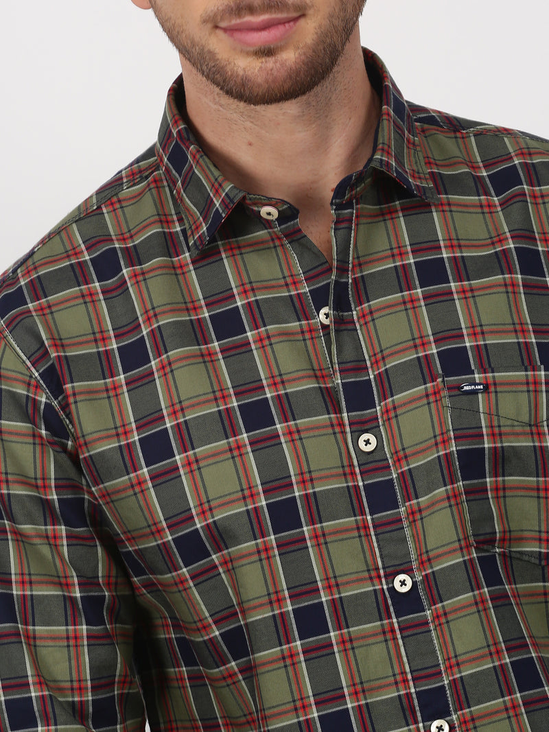Green Checked Long Sleeve Casual Shirt