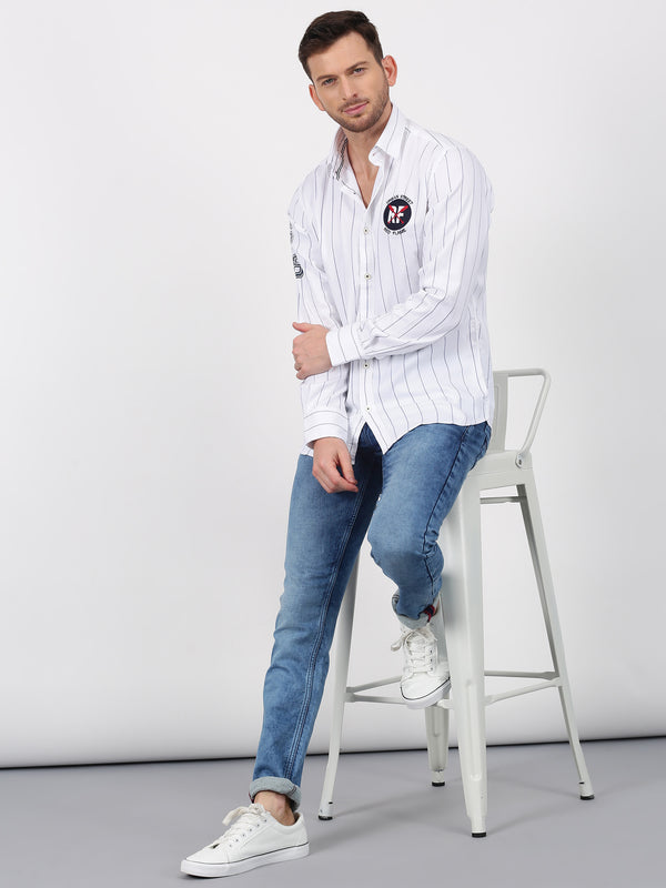 White Striped Long Sleeve Street Wear Shirt