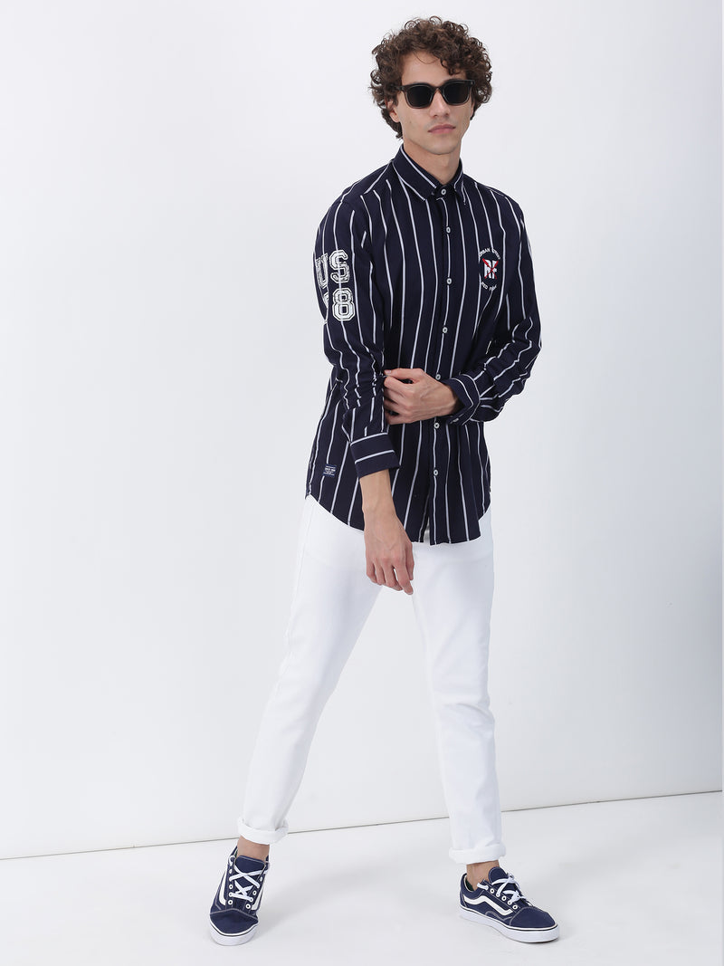 Navy Striped Long Sleeve Street Wear Shirt