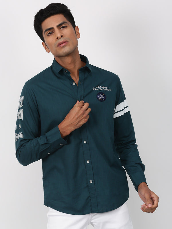 Dark Teal Plain Long Sleeve Street Wear Shirt