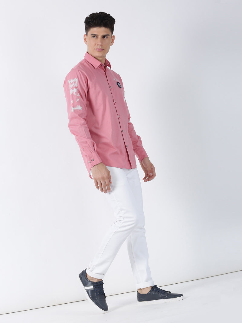Pink Plain Long Sleeve Street Wear Shirt