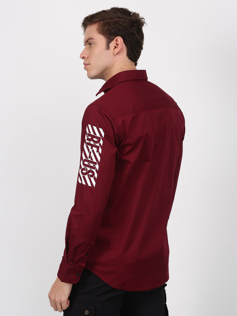 Maroon Plain Long Sleeve Street Wear Shirt