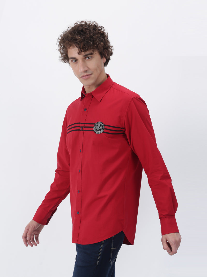 Red Striped Long Sleeve Street Wear Shirt