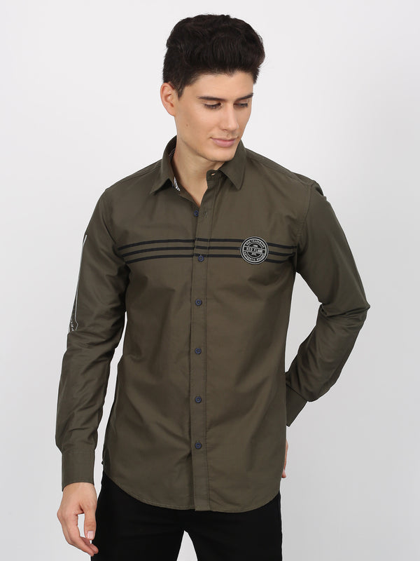 Olive Plain Long Sleeve Street Wear Shirt